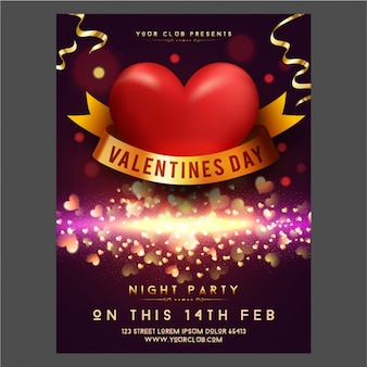 Glittering valentine's day poster with golden details