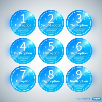 Glossy blue infographic with rounded labels