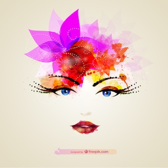 Glossy female portrait vector