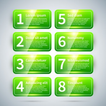 Glossy green infographic with number labels