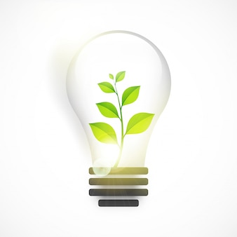 Glossy light bulb with green plant for Save Nature.