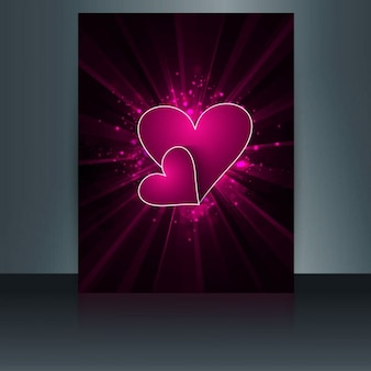 Glossy love card in color pink