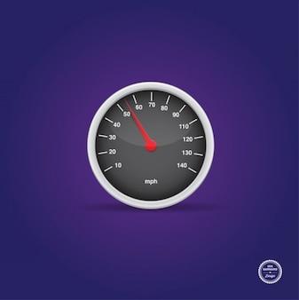 Glossy speedometer, vector graphic