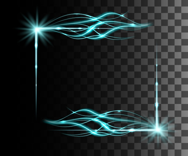 Glow  blue transparent effect, lens flare, explosion, glitter, line, sun flash, spark and stars. for illustration template art ,  for christmas celebrate, magic flash energy ray