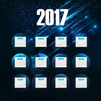 Glowing 2017 calendar of space