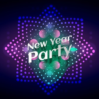 glowing card of new year party