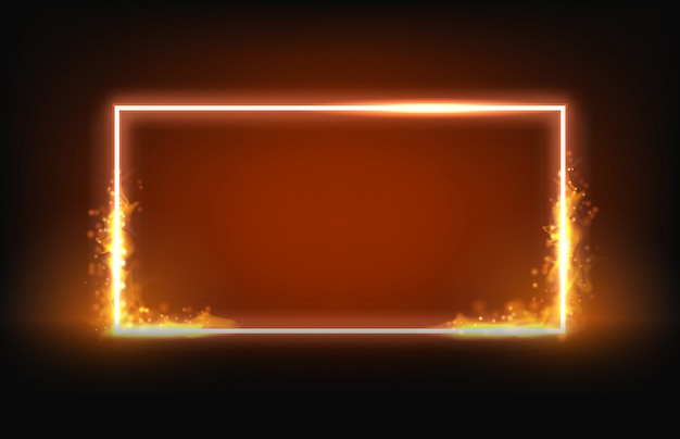 Glowing neon square frame with fire and smoke element