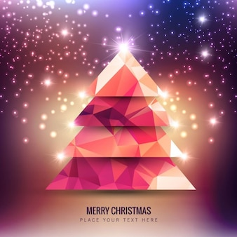 Glowing polygonal christmas tree