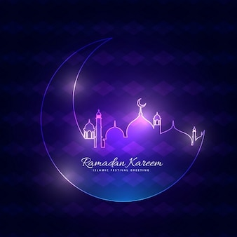 Glowing purple ramadan backgorund with moon and mosque