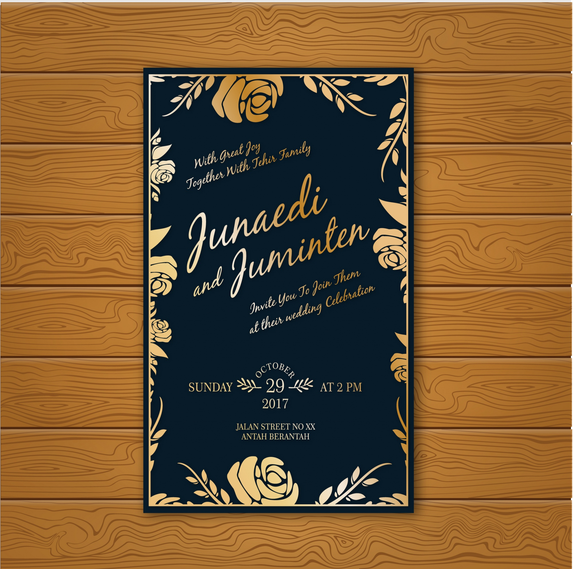 Gold and blue wedding card