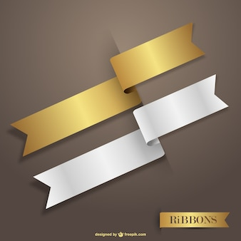 Gold and white vector ribbons