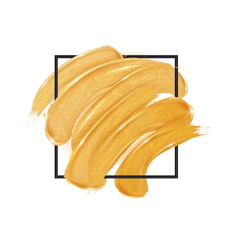 Gold brush strokes inside a square