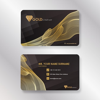 Gold corporate business card with smoke line style