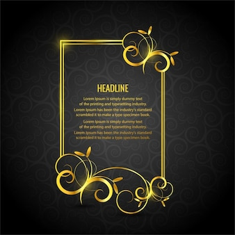 Gold floral frame on a black background