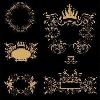 Gold floral frames decorative vector