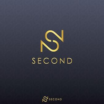 ゴールドの文字Sと黒の背景シャドーパターンとダブルナンバー2のロゴのコンセプト。最初の文字とロゴの番号。ブランド、ファッション、プレミアム製品またはサービスのテンプレートロゴ。