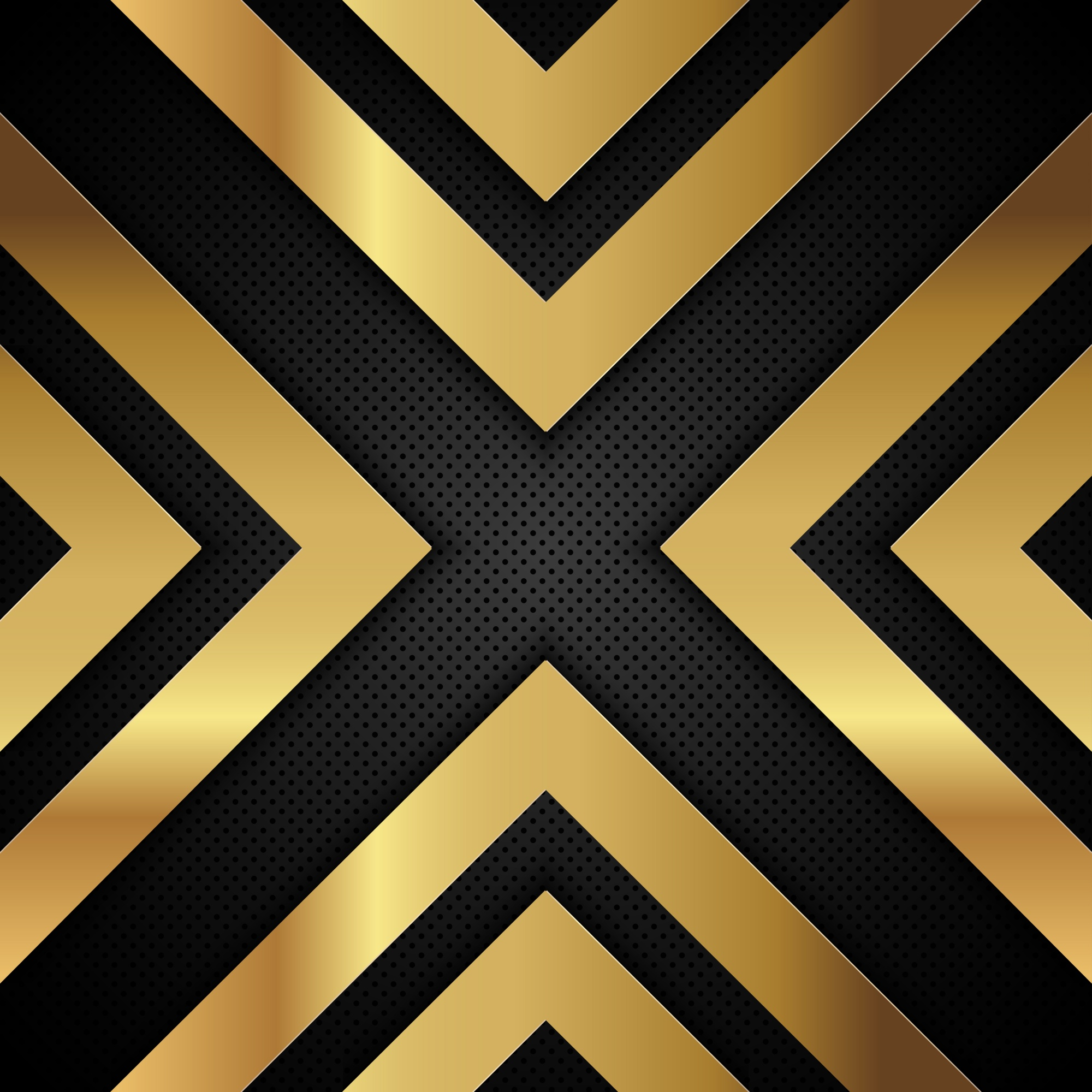 Gold metallic arrow shapes on a perforated metal background