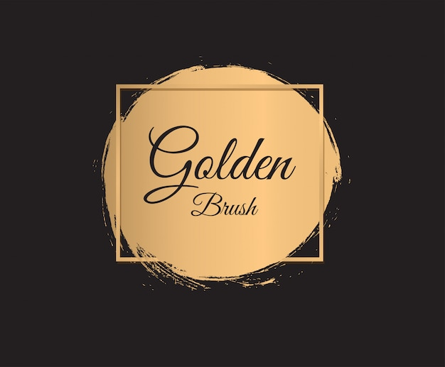 Gold paint brush strokes  on black background. golden circle.