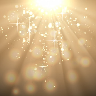 Golden abstract background with sun rays