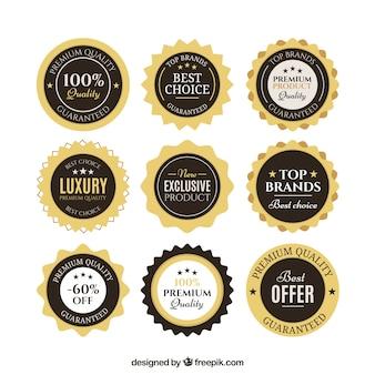 Golden and black discount badges