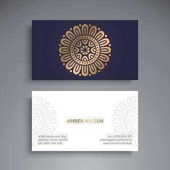Golden and blue mandala business card