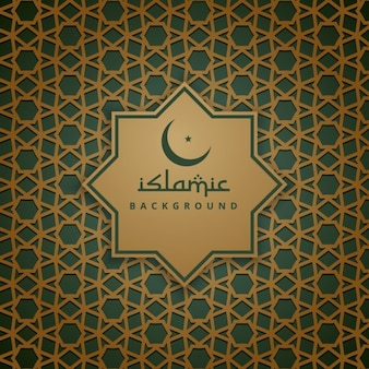 Golden and green islamic background