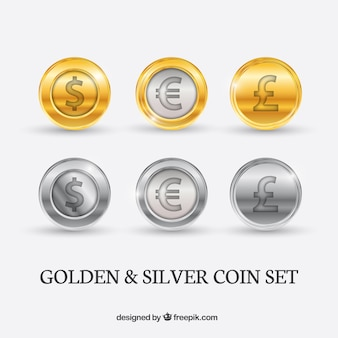 Golden and silver coins pack