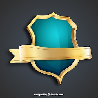 Golden and turquoise shield