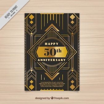 Golden anniversary card in art deco style
