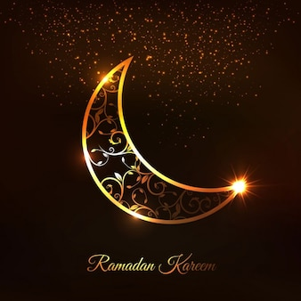 Golden arabic moon background