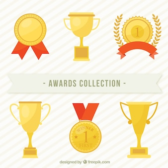Golden award collection in flat design
