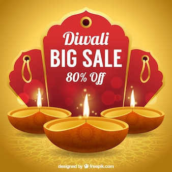 Golden background of diwali sales