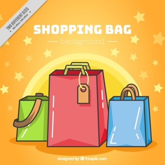 Golden background shopping bags