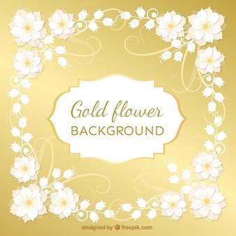Золотой фон с декоративными цветами