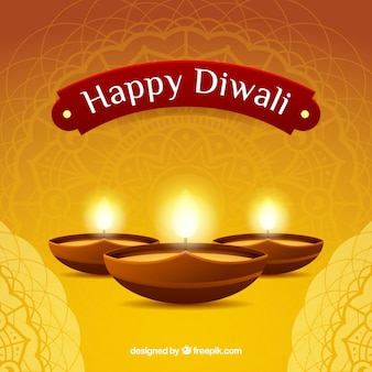 Golden background with diwali candles