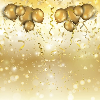 Golden balloons and confetti for a party