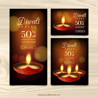 Golden banners of diwali sales