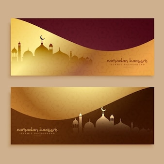 Golden banners of ramadan kareem and eid festival