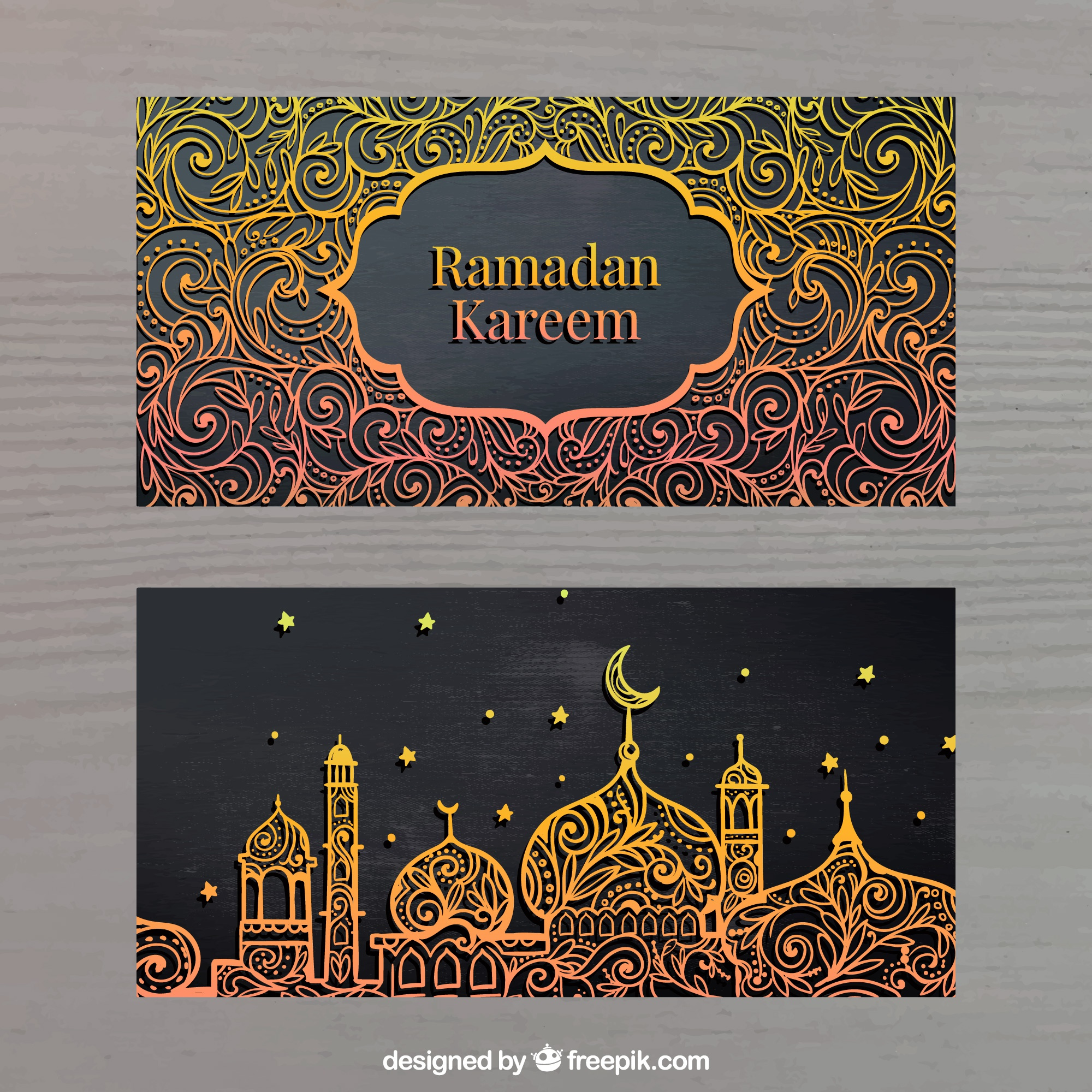 Golden banners of ramadan kareem