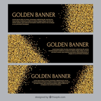 Golden banners with confetti