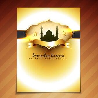 Golden brochure design for ramadan kareem