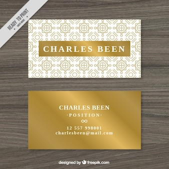 Golden business card in art deco style