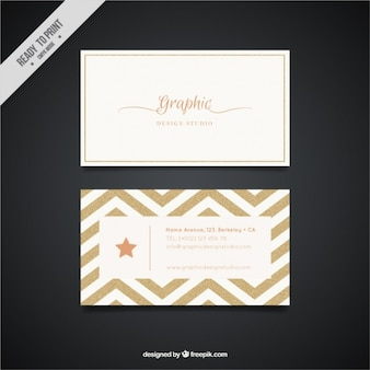 Golden business card with zig-zag lines