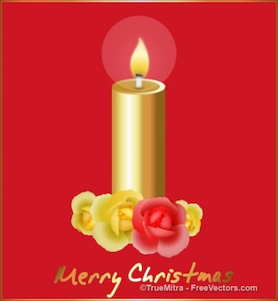 Golden candle greeting card