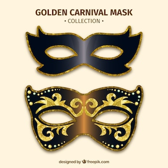 Golden carnival mask set