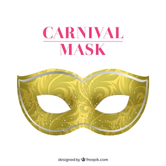 Golden carnival mask with swirly decoration
