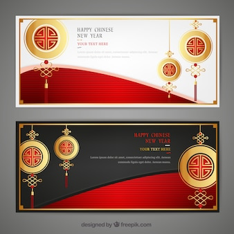 Golden chinese new year banners