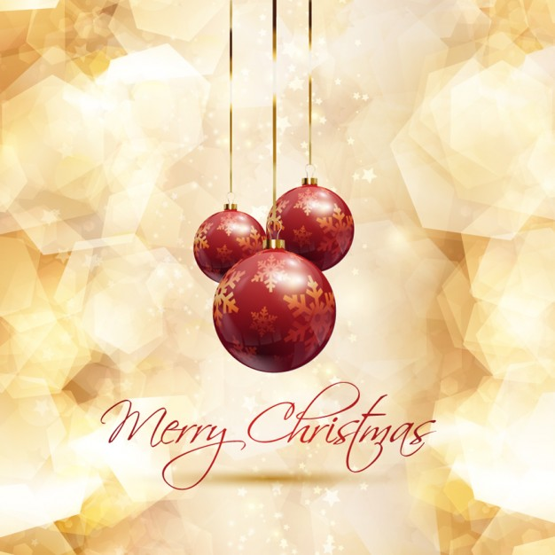 Golden christmas card with red baubles