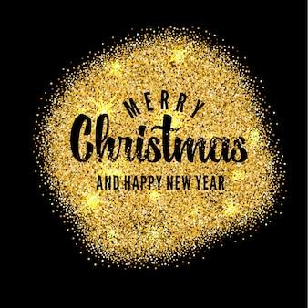 メリークリスマスと幸せな新年のためのレタリングと金の背景