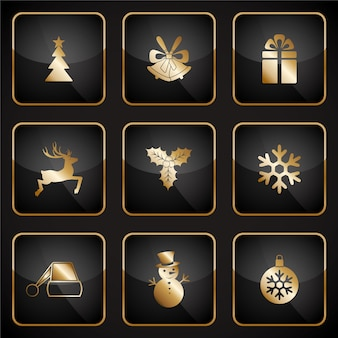 Golden christmas icons
